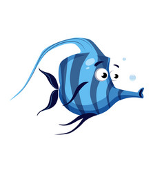 Tropical blue striped fish with a long nose sea vector
