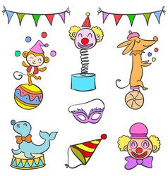 set of circus element doodles vector image