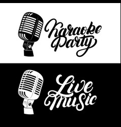 Karaoke hand written lettering logo emblem with vector