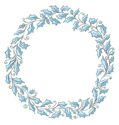 Hand drawn holly frame vector