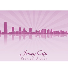 Jersey City skyline in purple radiant orchid vector image