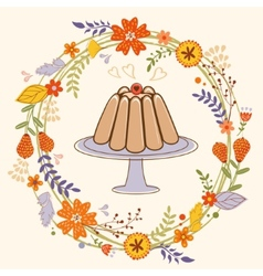 Sweet pudding in floral wreath card vector image
