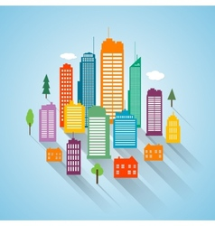 Flat building design cityscape background vector