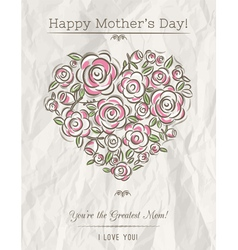 White card with heart of flowers for mothers day vector
