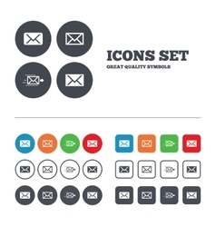 Mail envelope icons message symbols vector