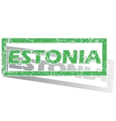 Green outlined estonia stamp vector
