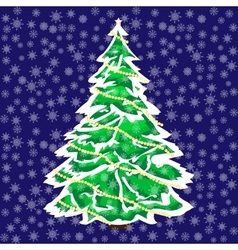 Snowy christmas tree in the snow background vector