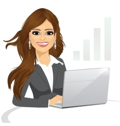 Business woman working on laptop vector