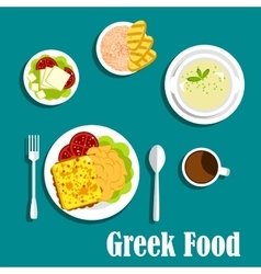 Greek dishes of mediterranean cuisine vector