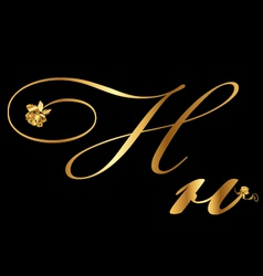 Gold letter h with roses vector