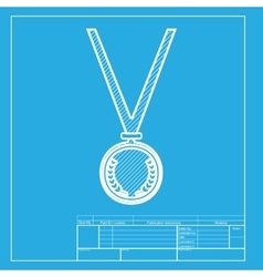 Medal simple sign white section of icon on vector