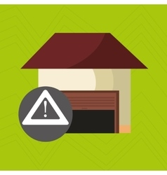 Smart home with alert symbol isolated icon design vector