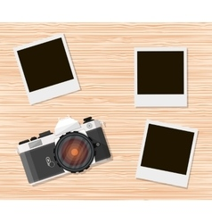 Retro old camera and instant photo frames vector