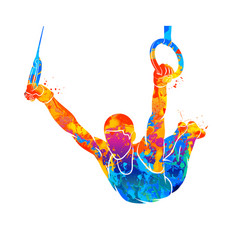 Abstract gymnast on rings vector