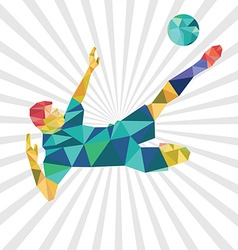 Abstract shape soccer player polygonal design vector