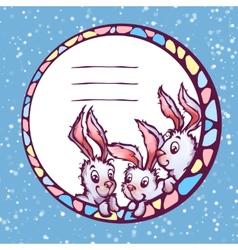banner with cute cartoon rabbits vector image