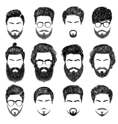 Bearded man hairstyles vector