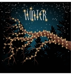 Branch with garland lights vector