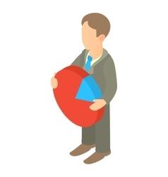 Businessman holding pie chart icon cartoon style vector