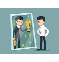 Businessman standing in front of mirror and see vector image vector image