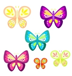 Butterfly set cartoon vector image