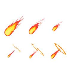cartoon comet effect stages set vector image