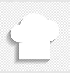 Chef cap sign white icon with soft shadow vector