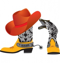 Cowboy shoes and hat vector