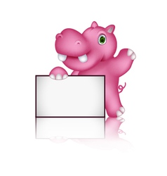 cute hippo cartoon with blank sign vector image vector image