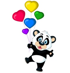Cute panda cartoon holding balloon vector