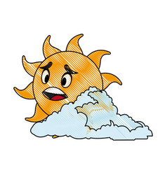 drawing cute smiling cartoon sun and cloud vector image vector image