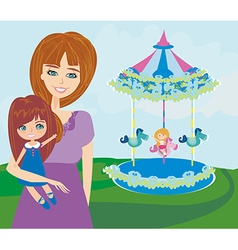 Happy daughter on carousel vector image
