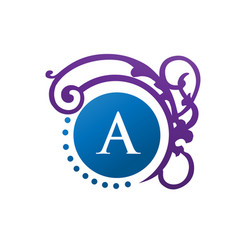 letter a with clasicc and modern decoration monogr vector image vector image