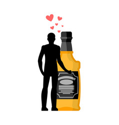 Lover alcohol drink man and bottle of whiskey vector
