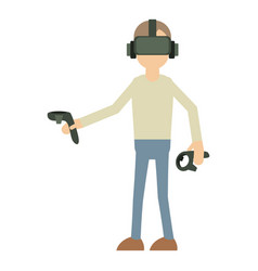 Man with vr manipulator icon cartoon style vector