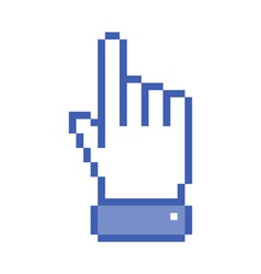 Pixel blue hand pointer vector image
