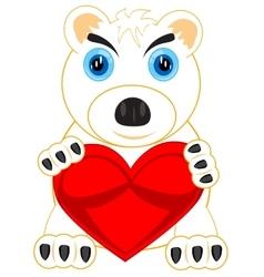 Polar bear with heart vector image vector image