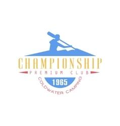 Rafting championship emblem design vector