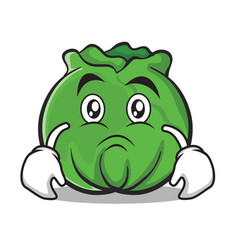 Sad cabbage cartoon character style vector