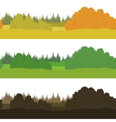 Set seamless landscapes forest vector image