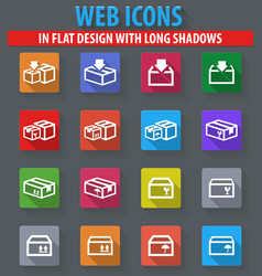 simple icons set of box vector image