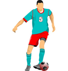 Soccer player in green-red uniforms colored for vector