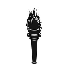 Street lamp in the form of a torch with an open vector