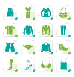 Stylized clothing and dress icons vector