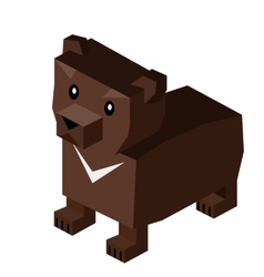 Wild animal bear isometric 3d design vector