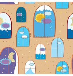 Windows seamless at day and night vector image vector image