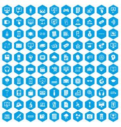 100 website icons set blue vector