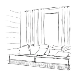 Modern interior hand drawing vector