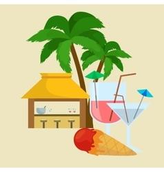 Beach bar Summer tropical under the palm tree vector image