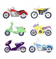 Motorcycles icons set with retro sport bike vector